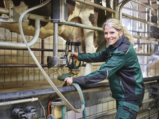 Portrait of smiling female farmer in stable milking a cow