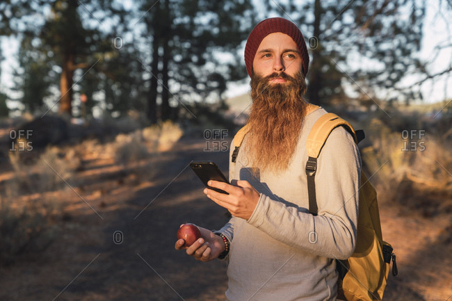 USA- North California- bearded man with cell phone and apple in a forest near Lassen Volcanic National Park