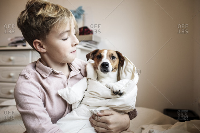 Boy with Jack Russel Terrier wrapped in blanket