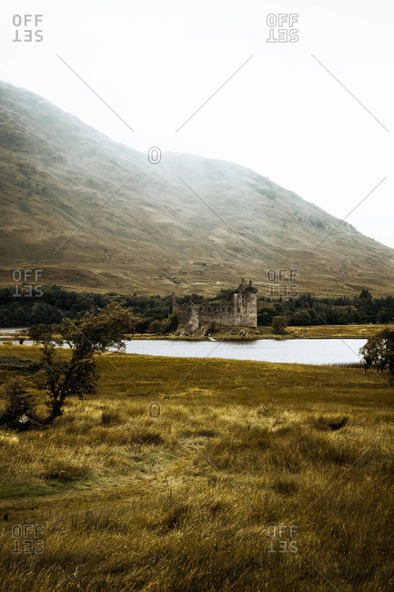 Castle on the lake among the mountains