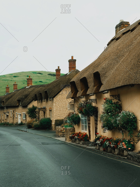 England - August 10, 2018: English village with historic houses