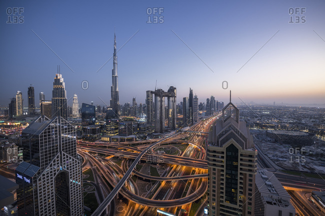 Dubai - October 12, 2018: Dubai Sheikh Zayed Road and Burj Khalifa