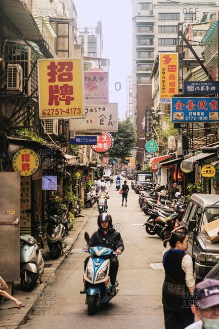 Taipei, Taiwan - November 5, 2018: Busy Taipei Street