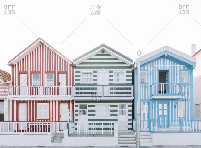 September 9, 2019: View of striped houses- Costa Nova- Portugal