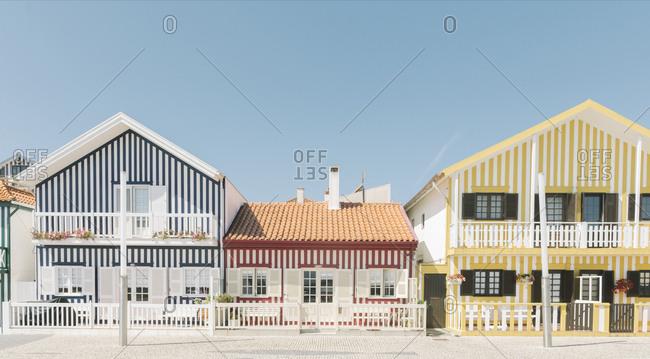 September 10, 2019: View of striped houses- Costa Nova- Portugal