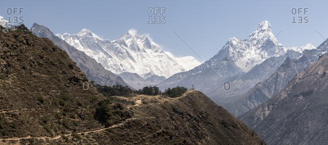 Ama Dablam and Mt Everest- Himalayas- Solo Khumbu- Nepal