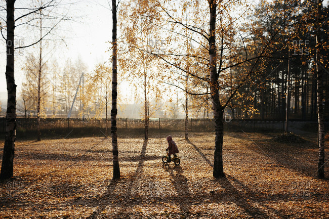 Little girl riding bicycle in autumnal park