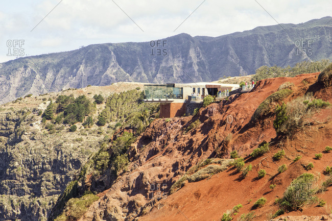 August 1, 2015: Mirador de Abrante viewing platform in the mountains- La Gomera- Canary Islands- Spain