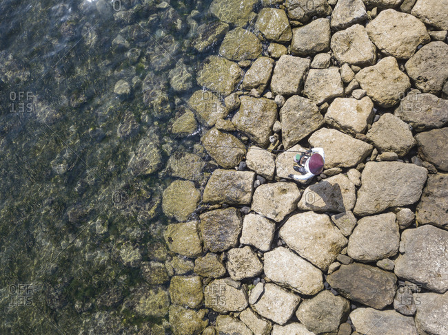 Aerial view of Angler on the seashore,Bali,Indonesia