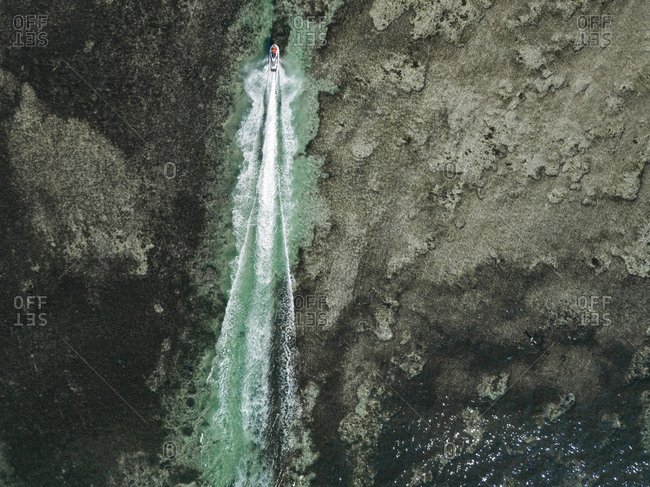 Aerial view of jet skiers, Nusa Dua, Bali, Indonesia