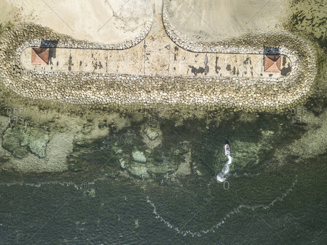 Pier and boat from above, Nusa Dua, Bali, Indonesia