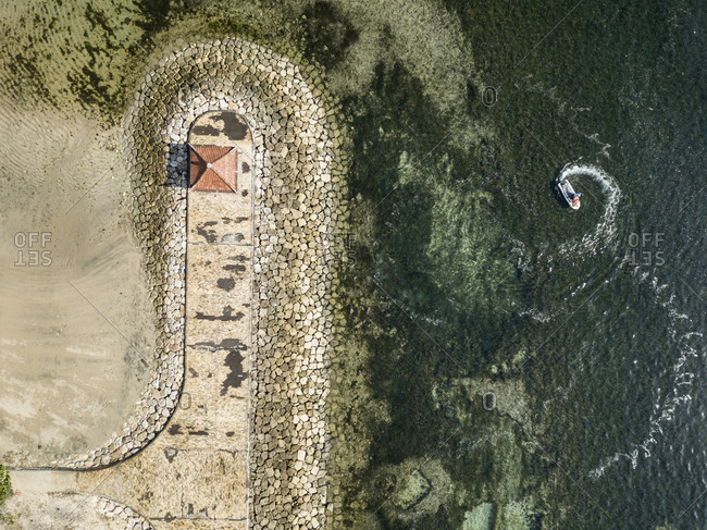 Pier and boats from above, Nusa Dua, Bali, Indonesia