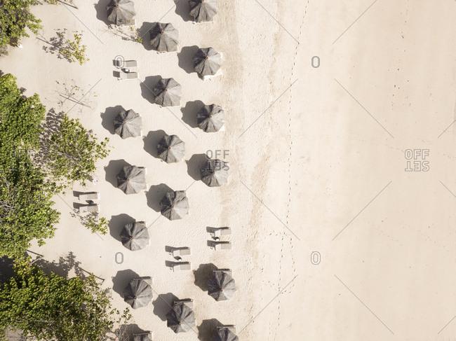 Aerial  view of sun umbrellas,Nusa Dua, Bali, Indonesia