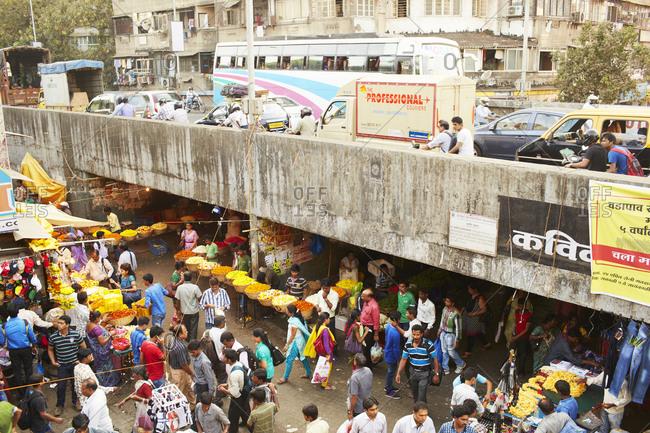 Mumbai, India - April 12, 2014: View over crowded market in Mumbai