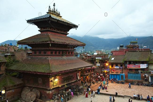 Bhaktapur, Nepal - July 14, 2012: Bird's eye view over traditional Oriental buildings in Bhaktapur