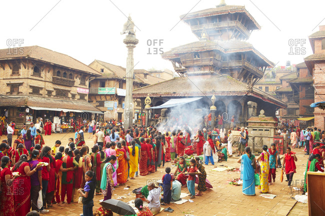 Bhaktapur, Nepal - July 15, 2012: Crowd gathered for the Nepalese holy festival