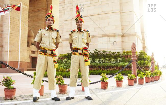 New Delhi, India - August 25, 2013: Two guards in uniform at Amar Jawan Jyoti