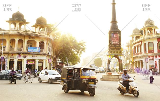 Jaipur, India - August 26, 2013: Street scene in downtown Jaipur