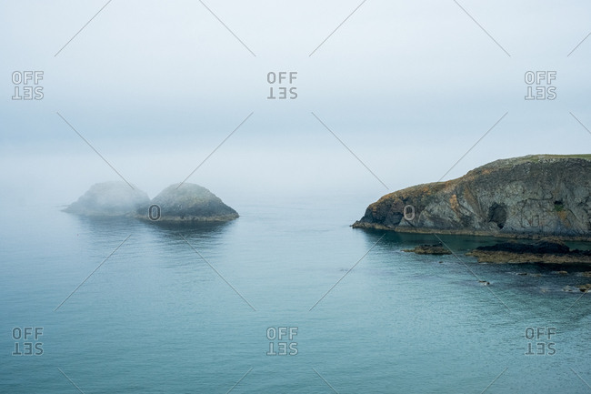 View along the Pembrokeshire Coast, Wales, UK on a misty day.