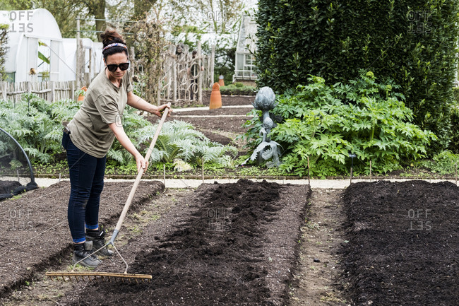 Woman raking freshly laid bed of soil in a vegetable garden.