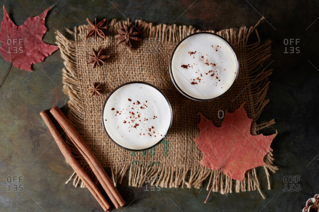 Tea latte with cinnamon and anise - from above