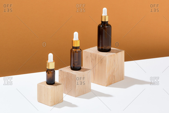 Beauty blogging minimalism concept with organic oils