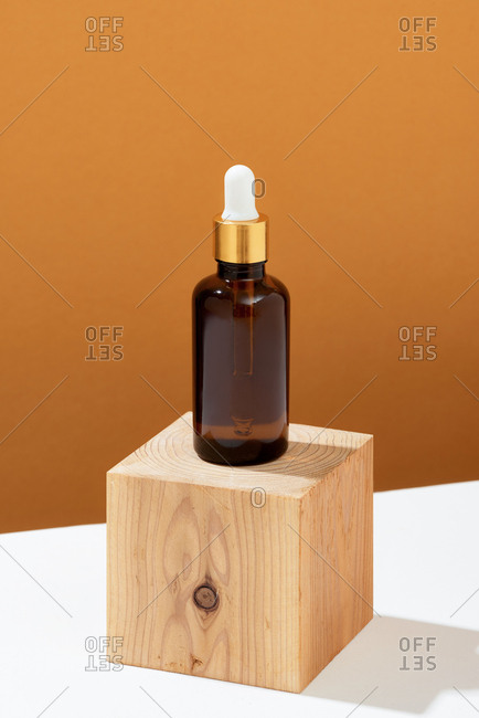 Set of organic cosmetic oil bottle on table