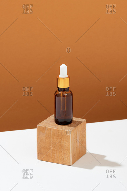 Beauty blogging minimalism concept with organic oil
