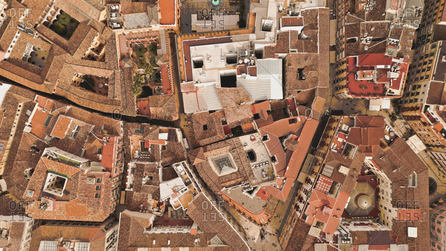 April 8, 2019: Aerial view of beautiful ancient city with wonderful roofs, Malaga, Spain