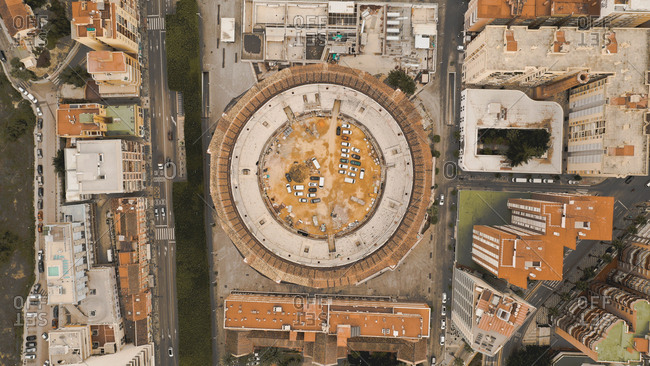 April 8, 2019: Aerial view of beautiful circular bull arena in Malaga, Spain, called Plaza de toros de La Malagueta