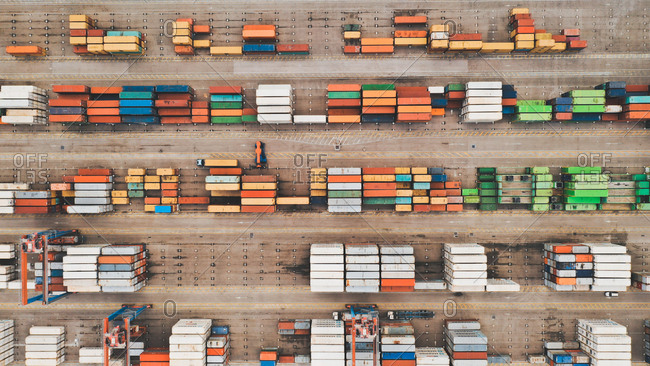 April 8, 2019: Aerial view of very well organized and colorful containers at Malaga Port, Spain