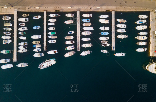 June 5, 2018: Aerial view of boats anchored at Mali Losinj bay, Croatia.