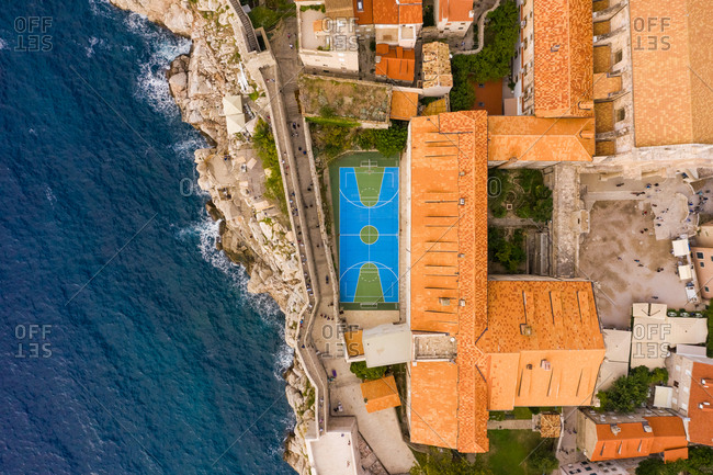 Aerial view of basketball court year at Dubrovnik old town, Croatia.