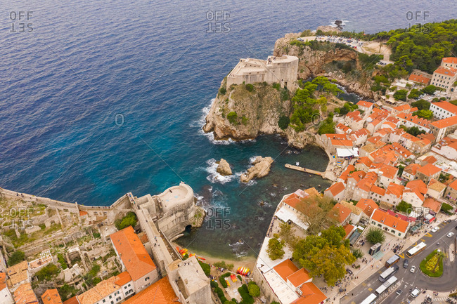 Aerial view of Tvrdava Bokar historical place at Dubrovnik old town, Croatia.