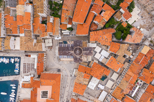 October 6, 2018: Aerial view above Church of Saint Blaise at Dubrovnik old town, Croatia.