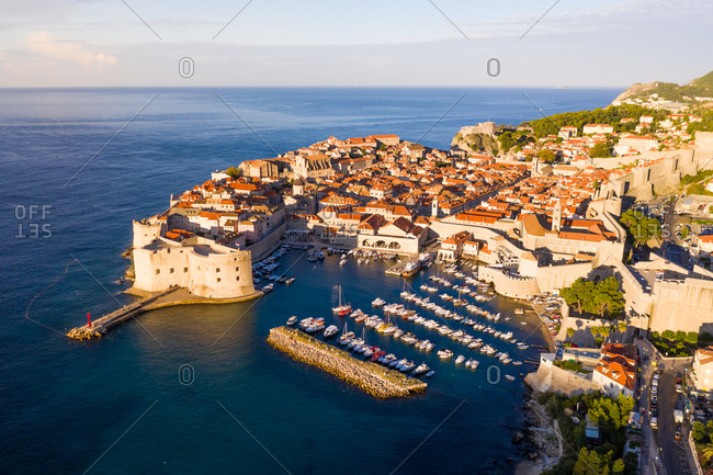 Aerial view of Dubrovnik old town surrounding by wall, Croatia.