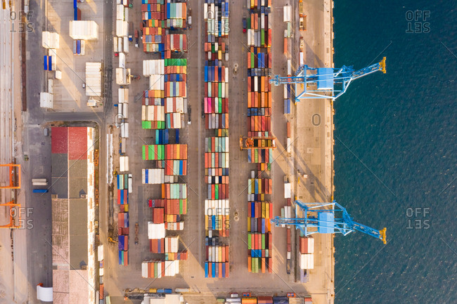 February 25, 2019: Aerial view of Adriatic Gate Container Terminal, Rijeka, Croatia.