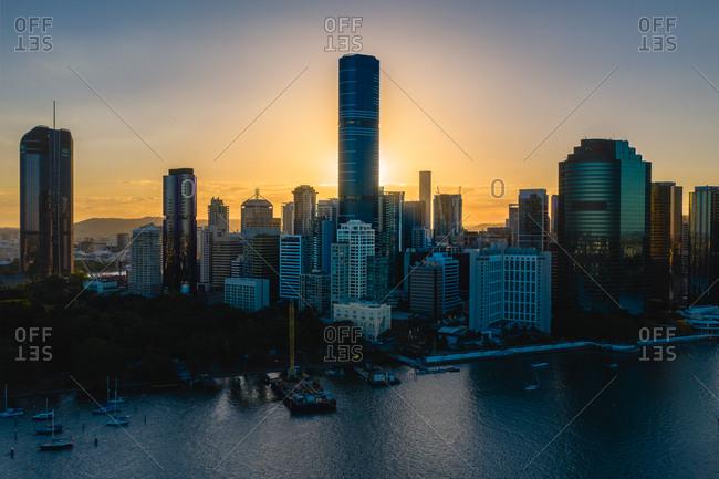 August 25, 2019: Aerial view of Brisbane skyline in Australia during sunset.