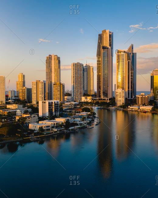 Aerial view of Brisbane skyline in Australia during sunset.
