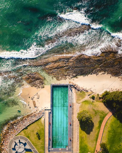 Aerial view of Jervis Bay ocean swimming pool in Australia.