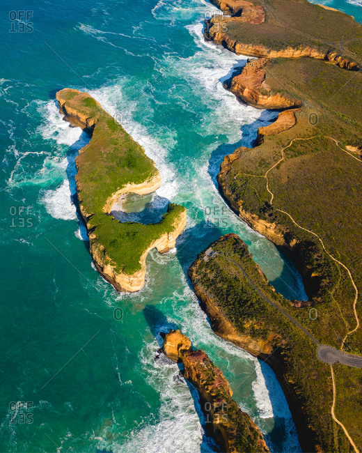Aerial view of Great Ocean Road cliffs in Australia.