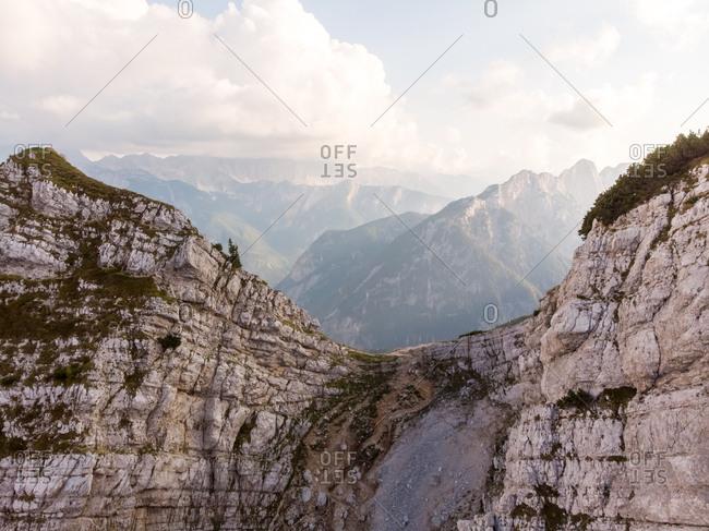 Aerial view of Kransjka Gora summit trekking in Slovenia.