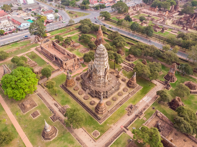 January 17, 2019: Aerial view of Wat Ratchaburana temple in Ayutthaya, Thailand.