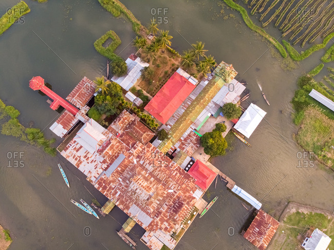 Aerial view of Nga Phe Kyaung monastery on Inle Lake in Myanmar.