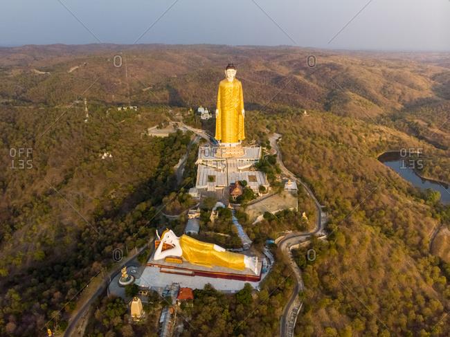 Aeria view of Laykyun Sekkya giant buddha's near Monywa in Myanmar.