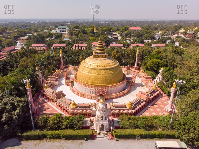 Aerial view of Buddhist academy in Sagaing, Myanmar.