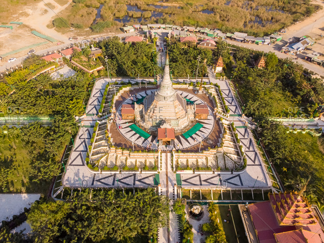 Aerial view of Thanbodday pagoda near Monywa in Myanmar.