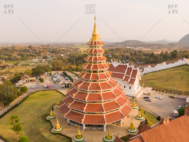 Aerial view of Wat Huay Pla Kang temple complex, Thailand.