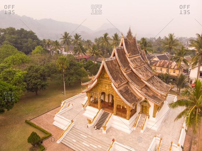 Aerial view of Luang Prabang temple, Laos.