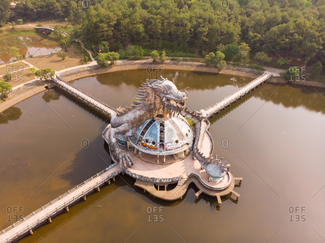 May 5, 2019: Aerial view of Hue abandoned water park in Vietnam.